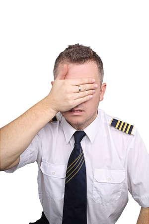 Pilot blinded on white background photo