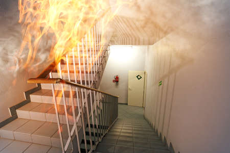 Fire in the staircase in the office