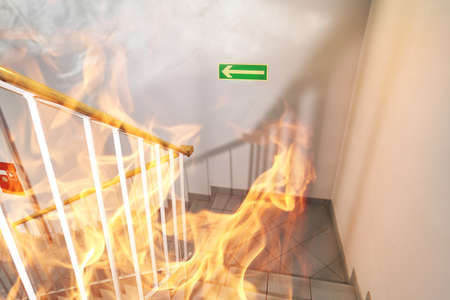 Stairs on fire in the building Stock Photo