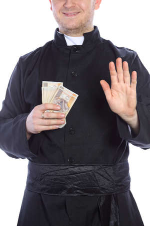 cleric: The young priest holding a lot of money in hand