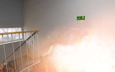 evacuate: Emergency exit - fire in the building