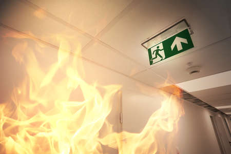 extinguisher: Emergency exit and fire alarm