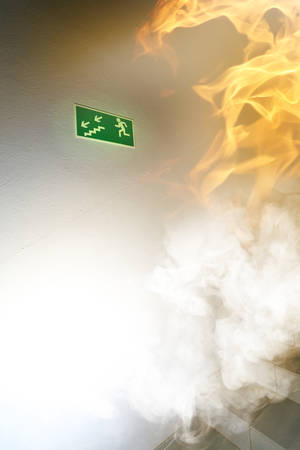 evacuate: Fire in the building Stock Photo