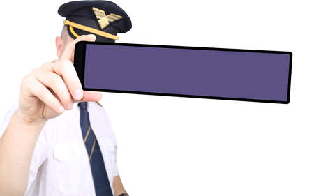 Captain with phone on white background photo