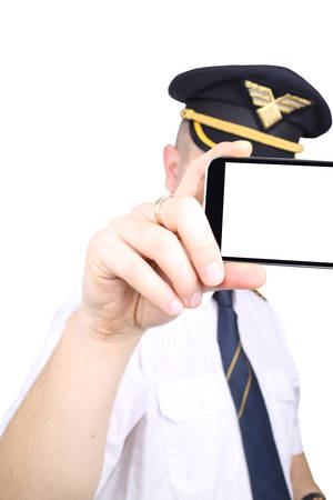 Captain with phone for your sample text photo
