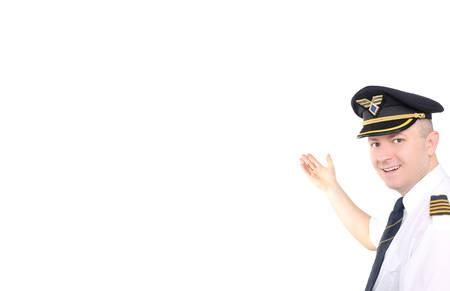 epaulets: Happy pilot on white background