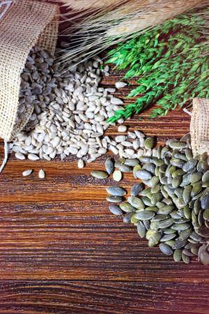 pumpkin seeds: Healthy grains Stock Photo