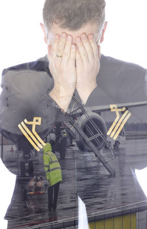 epaulets: Crying pilot in the double exposure