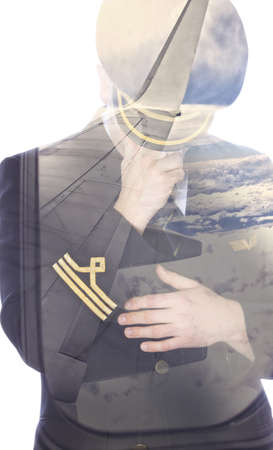 epaulets: Sad pilot and wing wiev in double exposure
