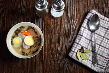 Delicious Polish cuisine - ryemeal soup photo