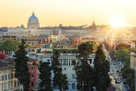 heliopolis: Lovely view of Rome on a sunset Stock Photo