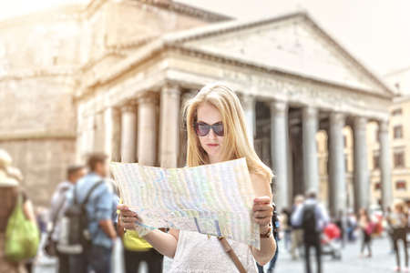 pantheon: A young tourist visits Pantheon in Rome Stock Photo