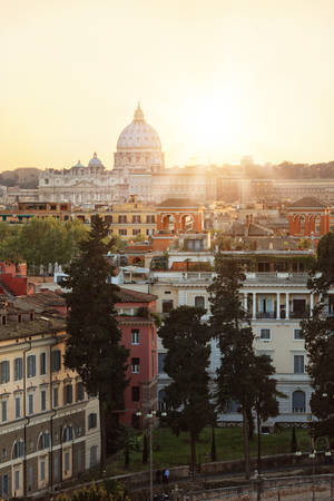 heliopolis: View of Rome during sunset Stock Photo