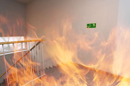 building safety: Emergency exit - fire in the building