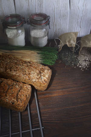 whole grains: delicious homemade bread with whole grains