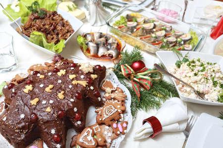 lavishly: Lavishly set table for Christmas Stock Photo
