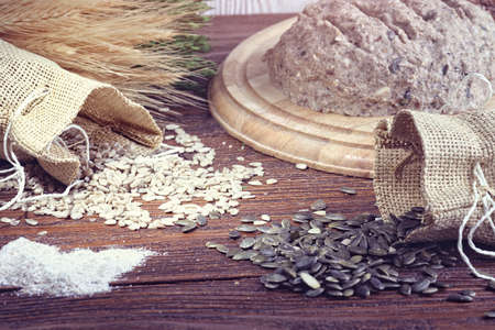 whole grains: Sourdough bread with whole grains and sunflower Stock Photo
