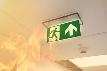 Fire in the building Standard-Bild