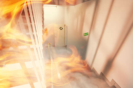 home office interior: Emergency exit and fire in the building