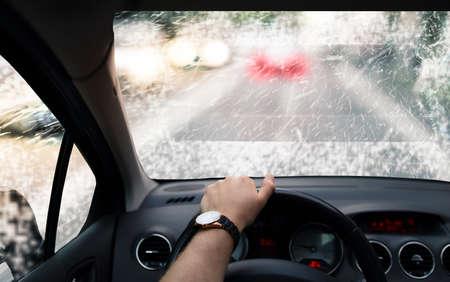 fog: Head-up system in car in foggy morning