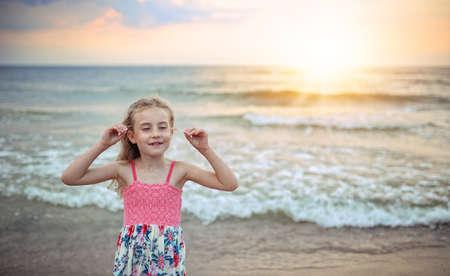 beatitude: girl at the seaside Stock Photo