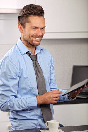 man's shirt: businessman in a mans shirt with smile