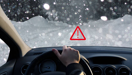 driving conditions: The technology displays a warning about the bad conditions of the road in the car
