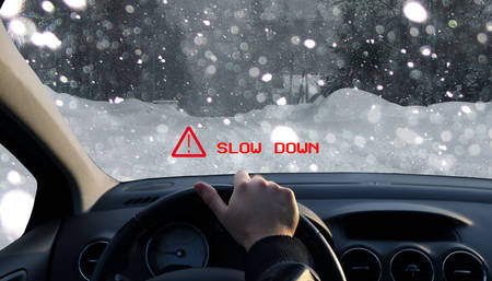 driving conditions: Technology displays a warning on windshield about the bad conditions of the road