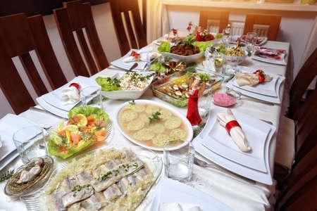 table set: table set on Christmas Eve
