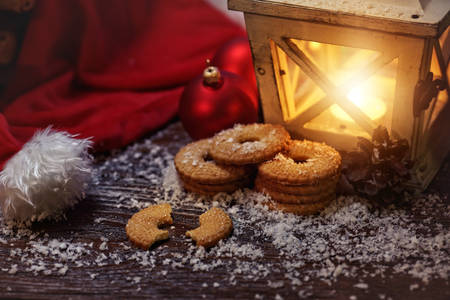 stupendous: Christmas cookies and a burning lantern for the Christmas Eve