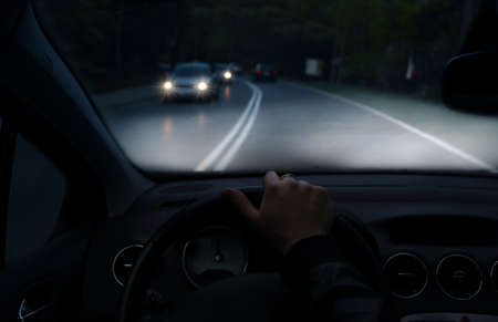 xenon: Driving at night with a car with xenon lights