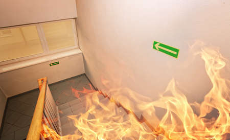 home security: Fire! - Emergency exit in building