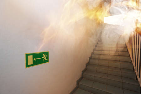 int: Fire int the building - emergency exit