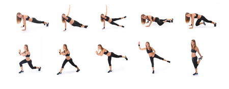stretching condition: Set of fitness  exercises and plank on a white background Stock Photo