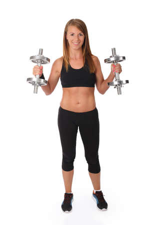 Girl with dumbbell on a white background
