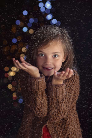 suprise: Young girl in a festive mood