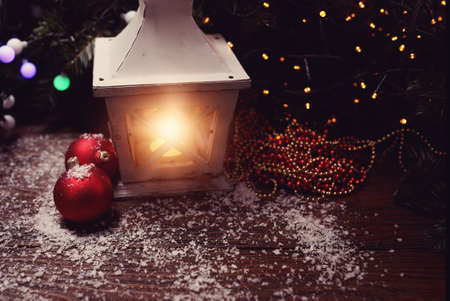 stupendous: Christmas lantern in winter magical Christmas evening