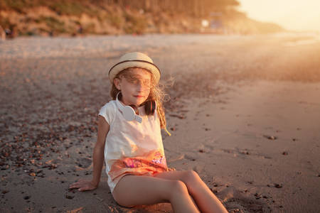 chillout: young girl have chillout time the beach