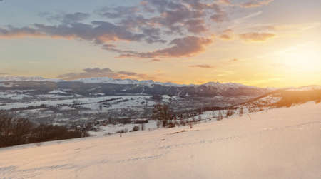 giewont: beautiful view of the Polish Tatras and Zakopane on a sunny winter day