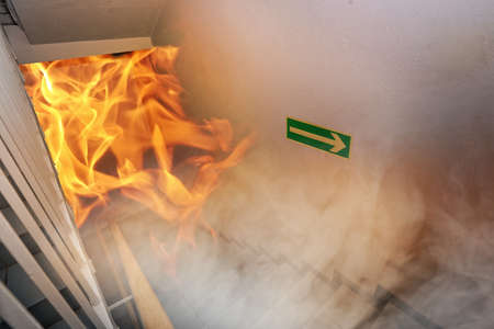 building safety: Emergency exit and big fire