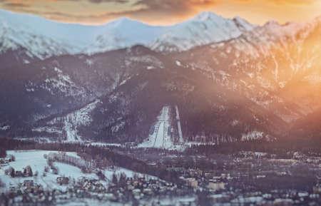 View of the ski jump in Zakopane Stock Photo
