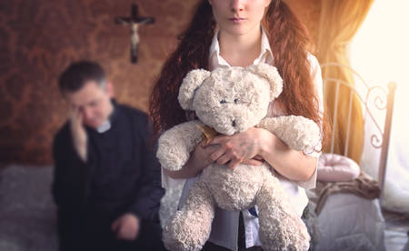 sinful: Frustrated priest in the room with a young girl