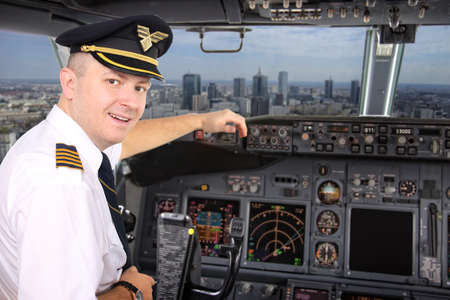 Captain of the plane fly over the big city of Warsaw photo