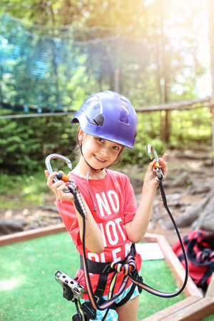 Happy young girl ready for adventurous adventure Stock Photo