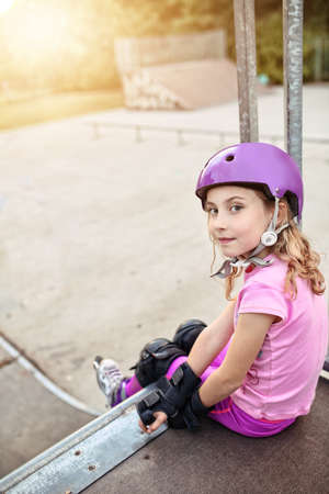 professionally: Young girl on the skatepark