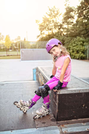 professionally: Young girl on the roller skate