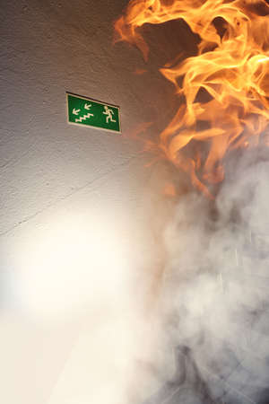 escape: Fire in the building and escape route Stock Photo