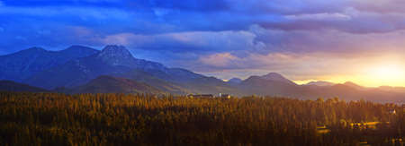 charming view of the setting sun in the Polish mountains Stock Photo