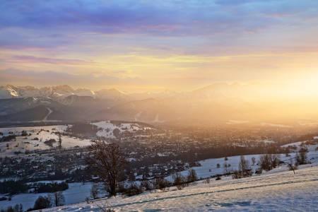 view of the sunny and winter Zakopane city Stock Photo