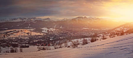 beautiful view of the setting sun in a mountain climate Stock Photo